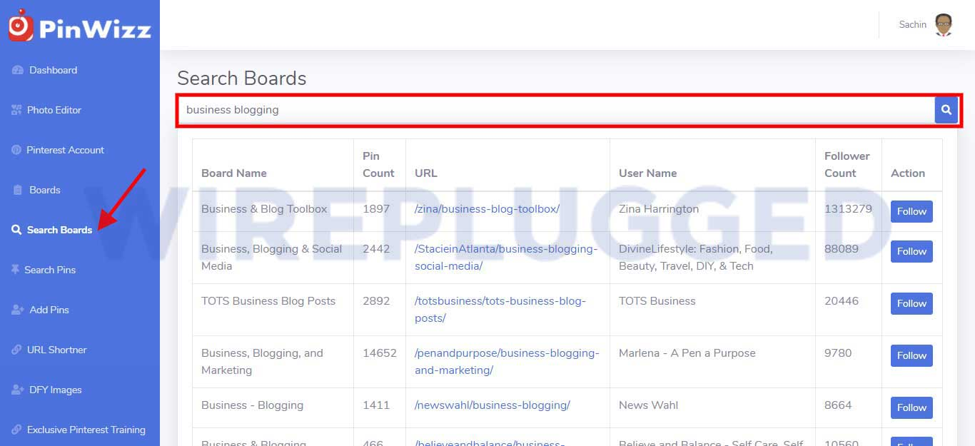 PinWizz Complete Review - Board Search (Wireplugged)